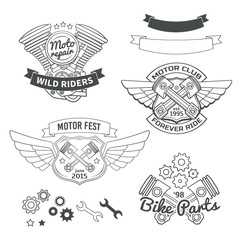 Set of biker vintage labels, oldschool motor logo vector design