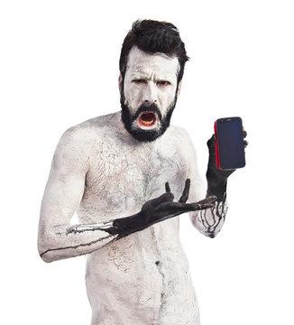 Monster holding phone