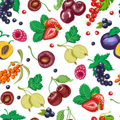 Summer seamless pattern with garden berries on a white background
