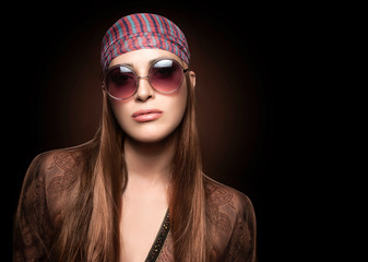 Fashion Girl with Round Sunglasses. Hippie Style