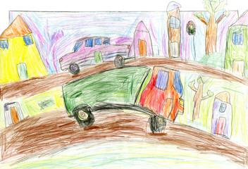 Cars in city, children's hand painted picture, pencil drawing