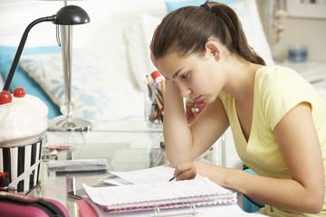 Teenage Girl Studying At Desk In Bedroom