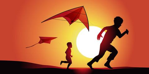 Cerf volant enfants-couche de soleil