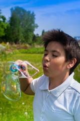 Boy and soap bubbles