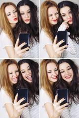 Collage of selfie girls posing