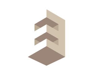 3D E letter, Constructions Logo