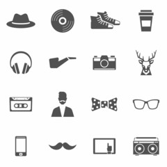 Hipster Black Icons Set