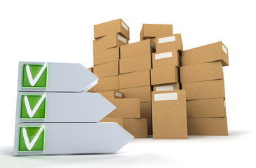 Pile of boxes with checklist