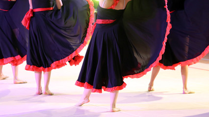 dancers during the performance of flamenco dancing in Spain
