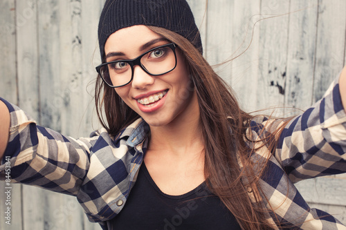 """""""Hipster girl in glasses and braces """" Stock photo and ..."""