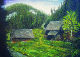 painting mountain forest, mountain stream and wood cottage