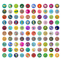 Flat Icons Set: Vector Illustration, Graphic Design. Collection Of Colorful Icons. For Web, Websites, Print, Presentation Templates, Mobile Applications And Promotional Materials