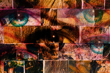 woman eye, on wall structure background. brick painting concept