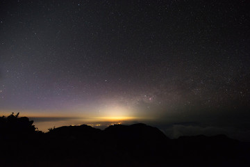 Landscape star and sunrise at the peak mountain