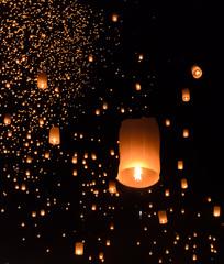 Sky lanterns festival or Yi Peng festival in Chiang Mai, Thailan