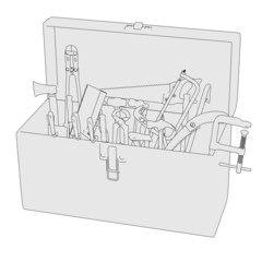 2d cartoon image of toolbox