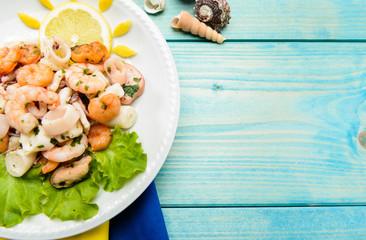Antipasto di frutti di mare, texture