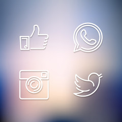 Line designed vector icons of like, handset, camera and bird on