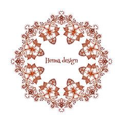 Circular floral ornament Mehndi Henna Tattoo Mandala or Yantra