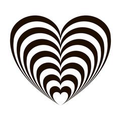 Geometric optical illusion black and white heart on a white