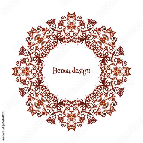 37287fbf6 Circular floral ornament Mehndi Henna Tattoo Mandala or Yantra ...