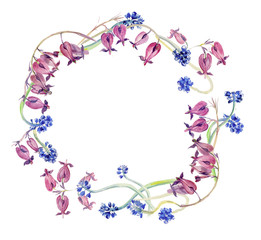 Circle frame from flowers. Blue muscari and pink bleeding-hearts. Spring time. Watercolor hand drawn illustration.
