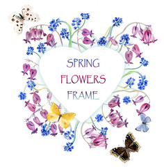 Heart frame from flowers. Blue muscari and pink bleeding-hearts. Spring time. Watercolor hand drawn illustration.