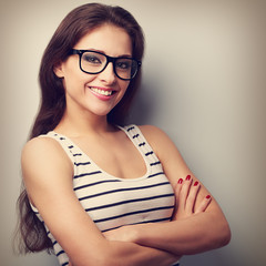 Happy successful young woman in glasses looking. Vintage portrai