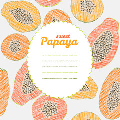Text frame. Endless papaya texture, repeating fruit background.