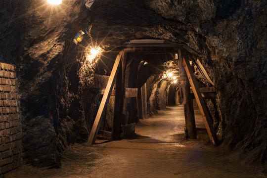 Long tunnel through gypsum mine
