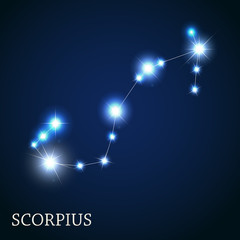 Scorpius Zodiac Sign of the Beautiful Bright Stars Vector Illust