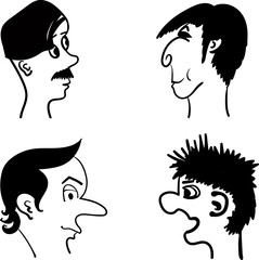 profiles of men with different hairstyles comic vector illustration