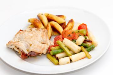 Gefüllte Putenschnitzel mit Parmaschinken, Spargel und Schupfnu