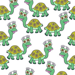 Cute vector colorful cartoon seamless pattern with turtles