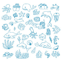 sea life cartoon doodle, vector illustration.