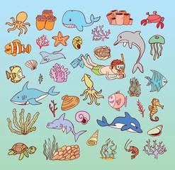 sea life cartoon doodle, vector illustration.