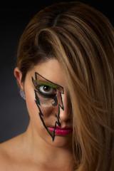 Closeup of Pretty Girl in Lightning Makeup