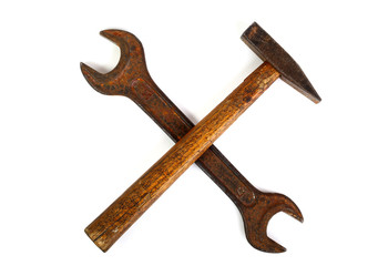 Crossed wrench and hammer
