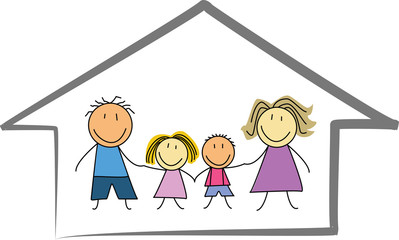 happy family home / house - Kids drawing /illustration