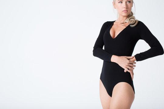 Blonde woman in bodysuit