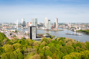 Deurstickers Rotterdam ROTTERDAM, NETHERLANDS: Cityscape from the Euromast tower