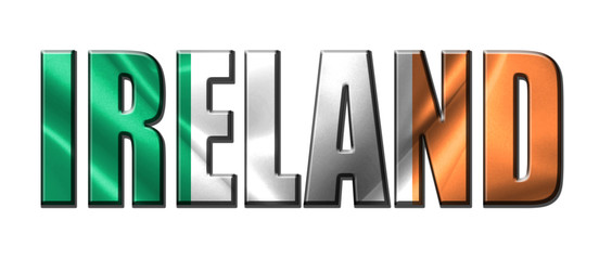 Text concept with Ireland waving flag