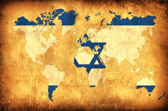 The flag of Israel in the outline of the world map