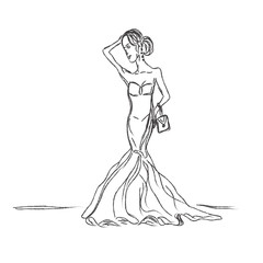 Fashion, girl, dress, sketch, vector