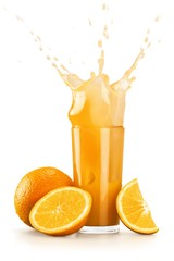 Printed kitchen splashbacks Splashing water Orange Juice, Juice, Splashing.