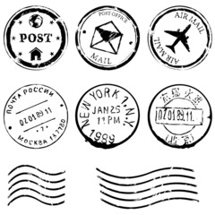 Vector set of Black Postal Stamps