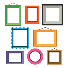 Vector set of different colorful photo frames
