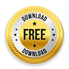 Gold free download badge on white background