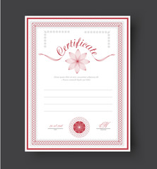 template certificates with flowers and rosette to be awarded.