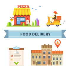 Food delivery. Restaurant, cafe, pizzeria